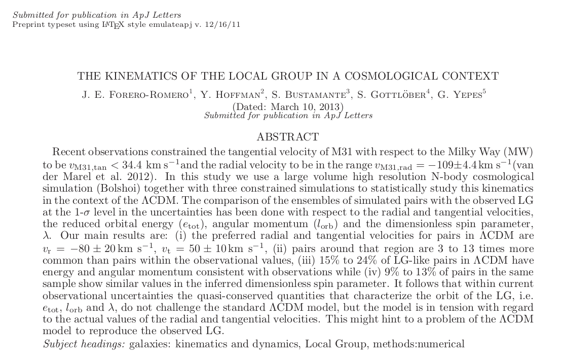 Local Group Kinematics Arxiv