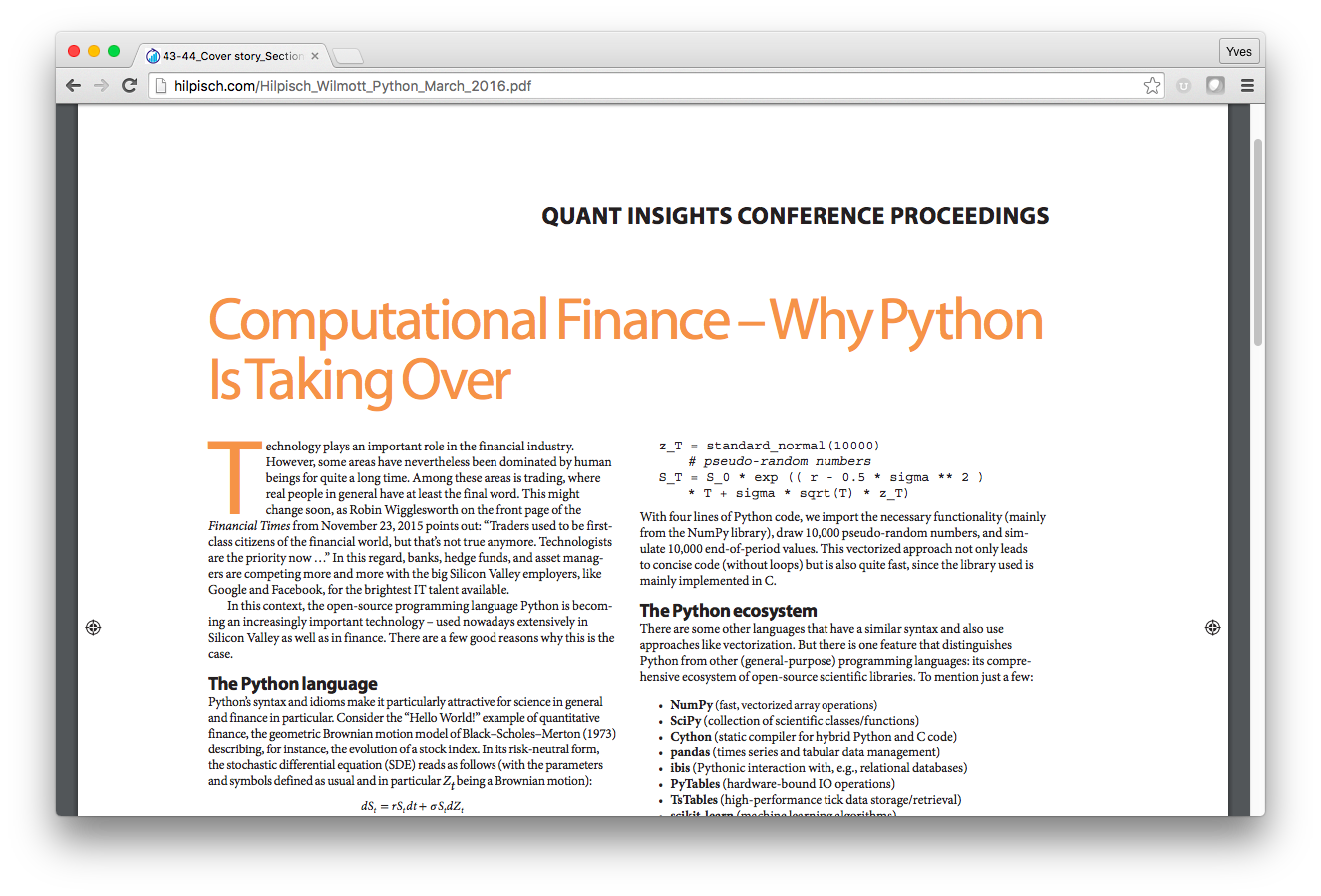 Dr  Yves J  Hilpisch — The Python Quant